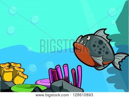 Piranha illustration under water scenery .eps10 editable vector illustration design