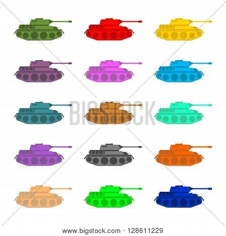 Set Multicolored Tanks. Military Equipment On White Background, Armored Combat Vehicle, Tracked With