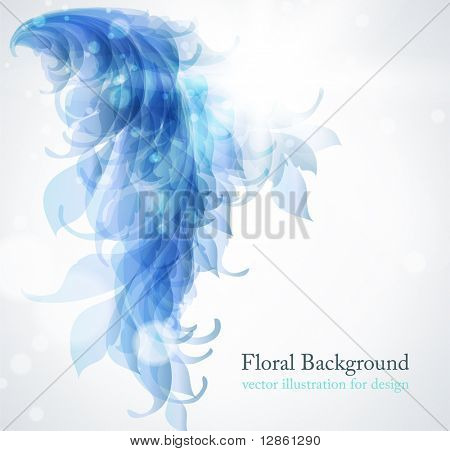 Abstract vintage blue background for design with leafs and flowers. Retro eps 10