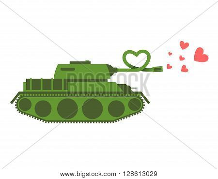 Army Tank Love. Green Shoots Military Machine Hearts. Love Army Equipment. Fighting Vehicle For Love