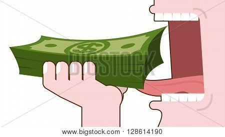 Man Eating Money. Consumption Of Cash. Bundle Of Dollars In Hand Open Mouth With Teeth And Tongue. C