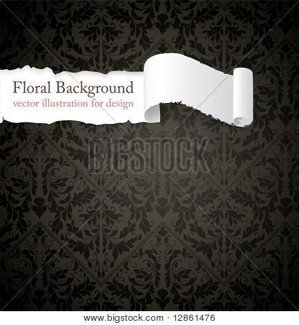 Torn seamless floral background for vintage design. Free place for text. Black ornament with abstract flowers and leafs.