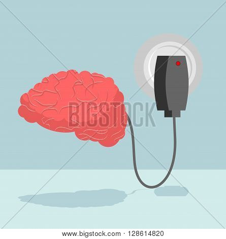 Charge Brain. Charger For Cerebrum. Marrow Is Charged With New Ideas And Thoughts. Energizes Battery