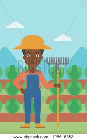 Farmer with rake.