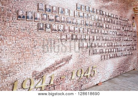 NIZHNY NOVGOROD, RUSSIA - AUGUST 28, 2015: Monument to the Victory Day, 9 May. Mosaic from the old front-line of photos on the Kremlin wall.
