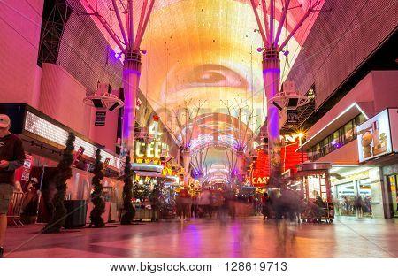 Colorful Fremont Street Is A Part Of Famous Las Vegas Strip