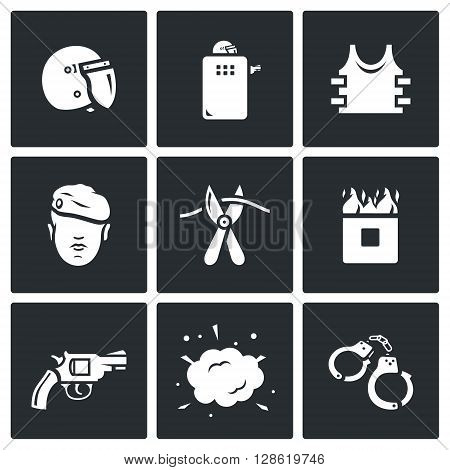 Vector Set of Special Forces Icons. Uniform, Soldier, Sabotage, Obstacle, Course, Weapon, Undermining, Arrest.