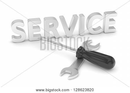 screwdriver and wrench tools on white background. service concept. 3D Rendering.