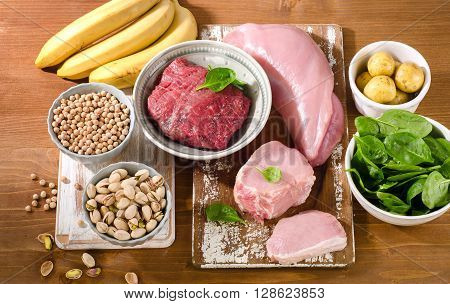 Foods Highest In Vitamin B6 On A Wooden Background.
