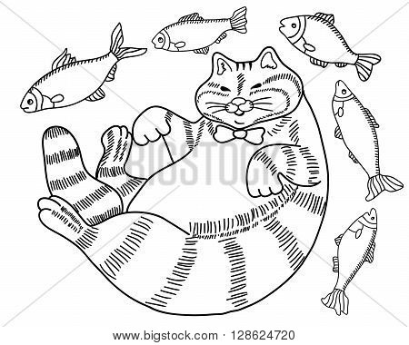 black and white drawing of a cat - a fat happy well fed cat surrounded by fish - coloring book for adults hand drawn illustration