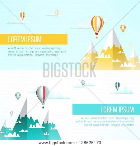 Travel to mountains background. Mountains adventure flyer design. Mountains climbing concept. Mountain landscape with balloons, snow peaks and clouds.