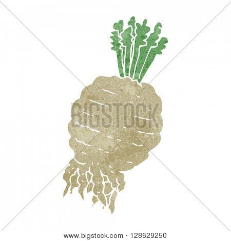 freehand retro cartoon turnip