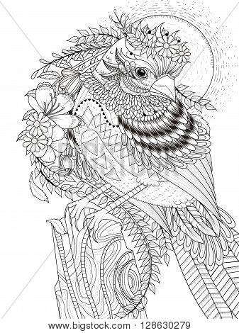 adult coloring page - beautiful sparrow with flowers