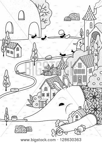 adult coloring page - anteater put candies on its tongue and wait for ants