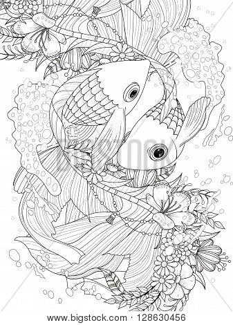 adult coloring page - elegant goldfish couple with floral elements