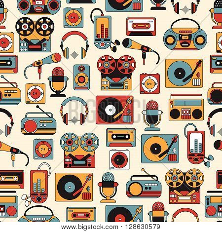 Seamless pattern with symbols of retro tape cassette boombox turntable records.