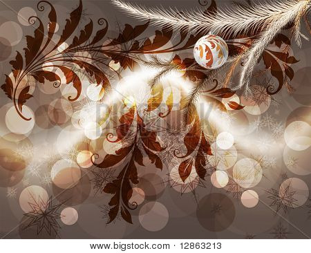 Merry Christmas Elegant Background for Greetings Card with balls, snowflakes, fur tree branches and sparks poster
