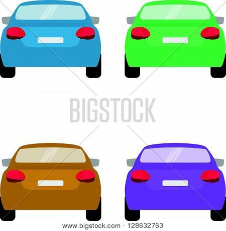 Set of back of cars in vector on white background.