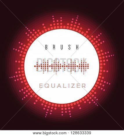 Vector digital fire red equalizer brush for radio image sound wave