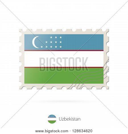 Postage Stamp With The Image Of Uzbekistan Flag.
