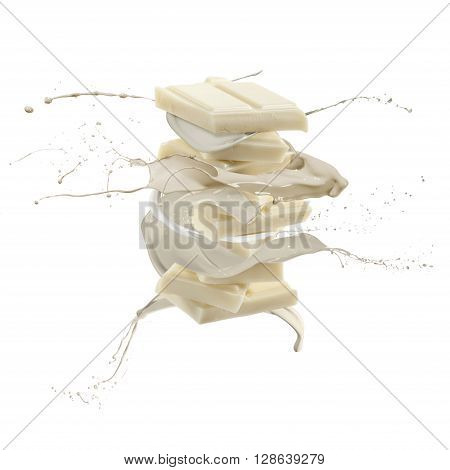 liquid splash white chocolate around stack of chocolate blocks isolated on white