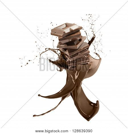 liquid splash chocolate around stack of chocolate blocks isolated on white
