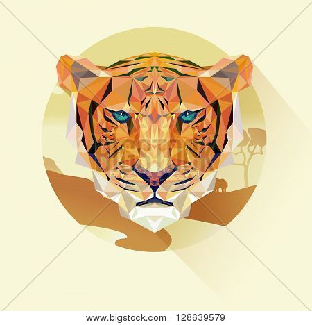 Vector portrait of tiger polygonal style. Triangle illustration logo animal for use as a print on t-shirt and poster. Geometric low poly tiger. Landscape image in a flat design with long shadow.