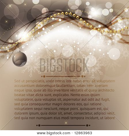 Merry Christmas Elegant Background for Greetings Card with balls, snowflakes and sparks