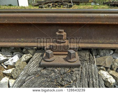 Old railway tracks and connections on it.