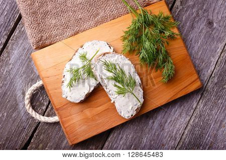 A slice of freshly baked ciabatta bread and healthy low fat cream cheese with dill and fresh green dill on wooden board. Top view.