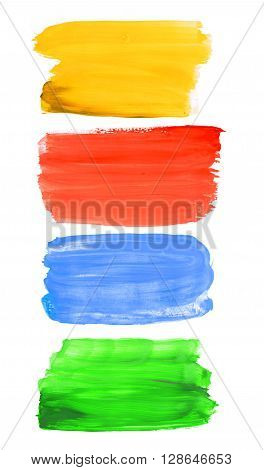 Colorful watercolor brush strokes  isolated on a white background