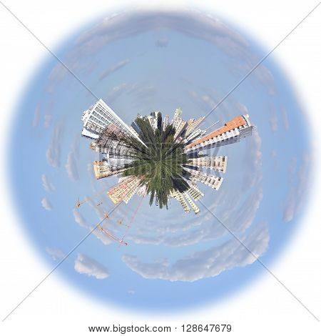 a photo manipulation of a City on a Globe
