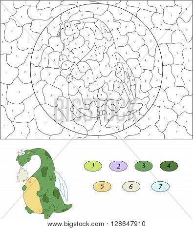The Green Dragon Have A Stomach Ache. Color By Number Educational Game For Kids