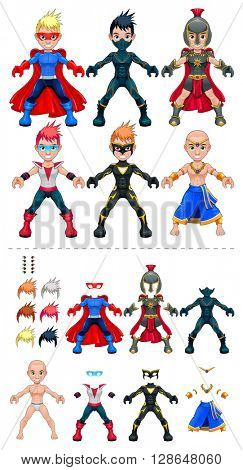 Young superheroes, isolated objects. Larger characters on the top are just examples of various combinations between 5 eyes, 6 hairstyle colors, 6 dresses, on the bottom of the preview.