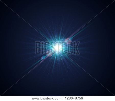 Beautiful realistic blue light glare. Cosmic glows and lighting effects with particles, sun flash, rays, lens flare, flash. Abstract vector illustration for your design