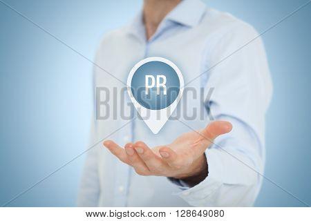 Public relations (PR) concept. Businessman offer PR agency services.