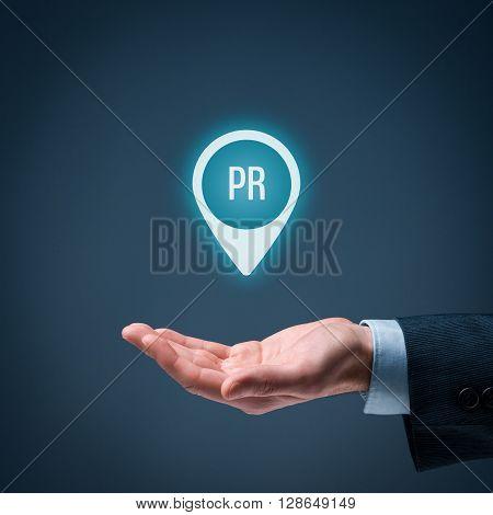 Public relations (PR) concept. Businessman offer PR agency services. Square composition.