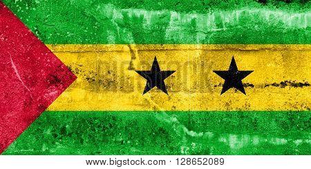 Sao Tome And Principe Flag Painted On Grunge Wall