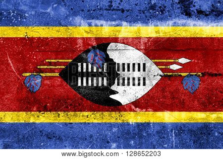 Swaziland Flag painted on grunge wall. Vintage and old look