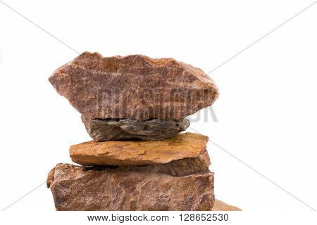 Some rocks overlapped on a white background