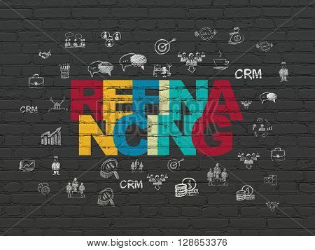 Finance concept: Painted multicolor text Refinancing on Black Brick wall background with  Hand Drawn Business Icons