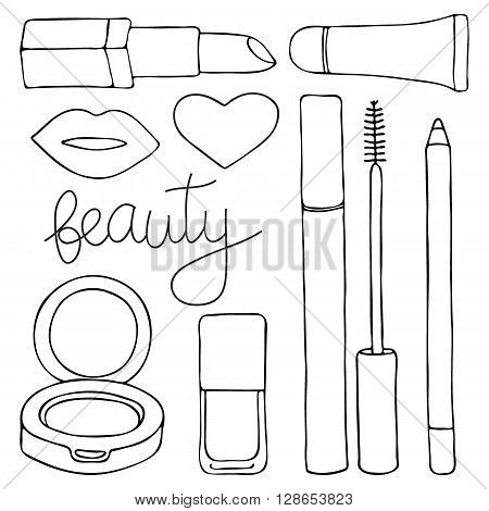 Cosmetics or make up set. Hand-drawn cartoon collection of cosmetic beauty products - lip gloss, lipstick, mascara, pencil, cushion, lips, nail polish. Doodle drawing. Vector illustration