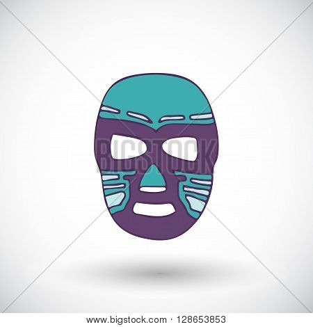 Luchador or fighter mask. Hand-drawn lucha libre - free fight - mask - colorful helmet with round shadow. Vector illustration.