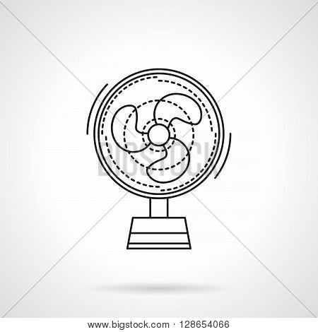 Small portative fan a front view. Climatic appliances. Summer comfort. Air cooler. Flat line style vector icon. Single design element for website, business.