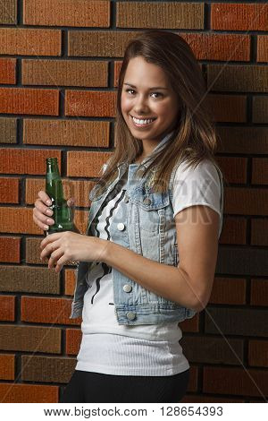 Happy Woman With Beer