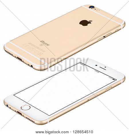 Varna Bulgaria - October 25 2015: Gold Apple iPhone 6s mockup lies on the surface clockwise rotated with white screen and back side with Apple Inc logo. Isolated on white.