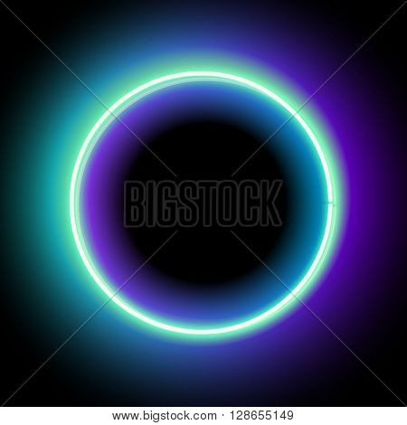 Neon circle. Neon blue light. Vector electric frame. Vintage frame. Retro neon lamp. Space for text. Glowing neon background. Abstract electric background. Neon sign circle. Glowing electric circle.