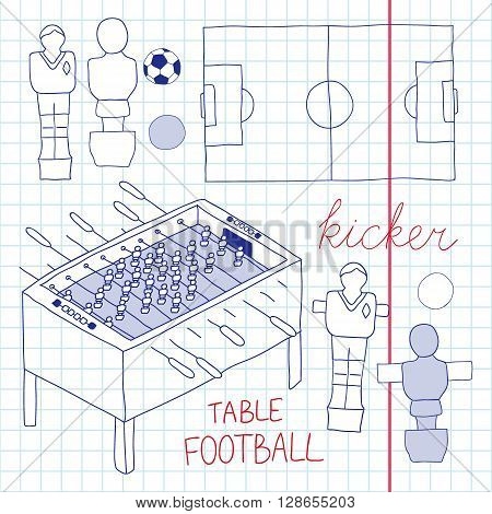 Table football set. Hand-drawn cartoon collection of kicker icons - player, game table, field, ball. Doodle drawing. Vector illustration