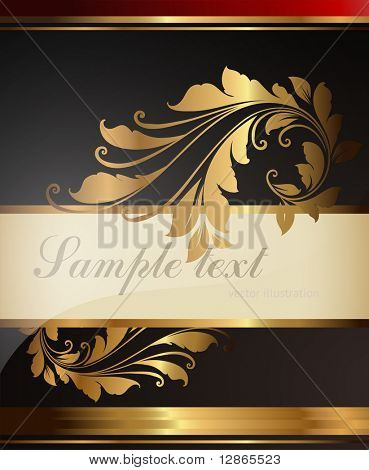 gold-framed floral ornament with leafs and flowers for retro design