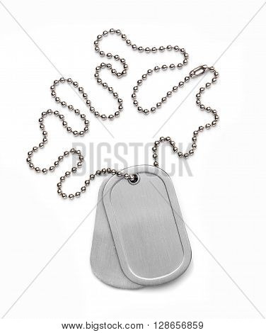 Military Dog Tag isolated on a white background